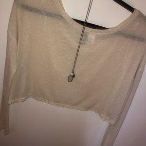 H&M Tops - Cream sweater crop top